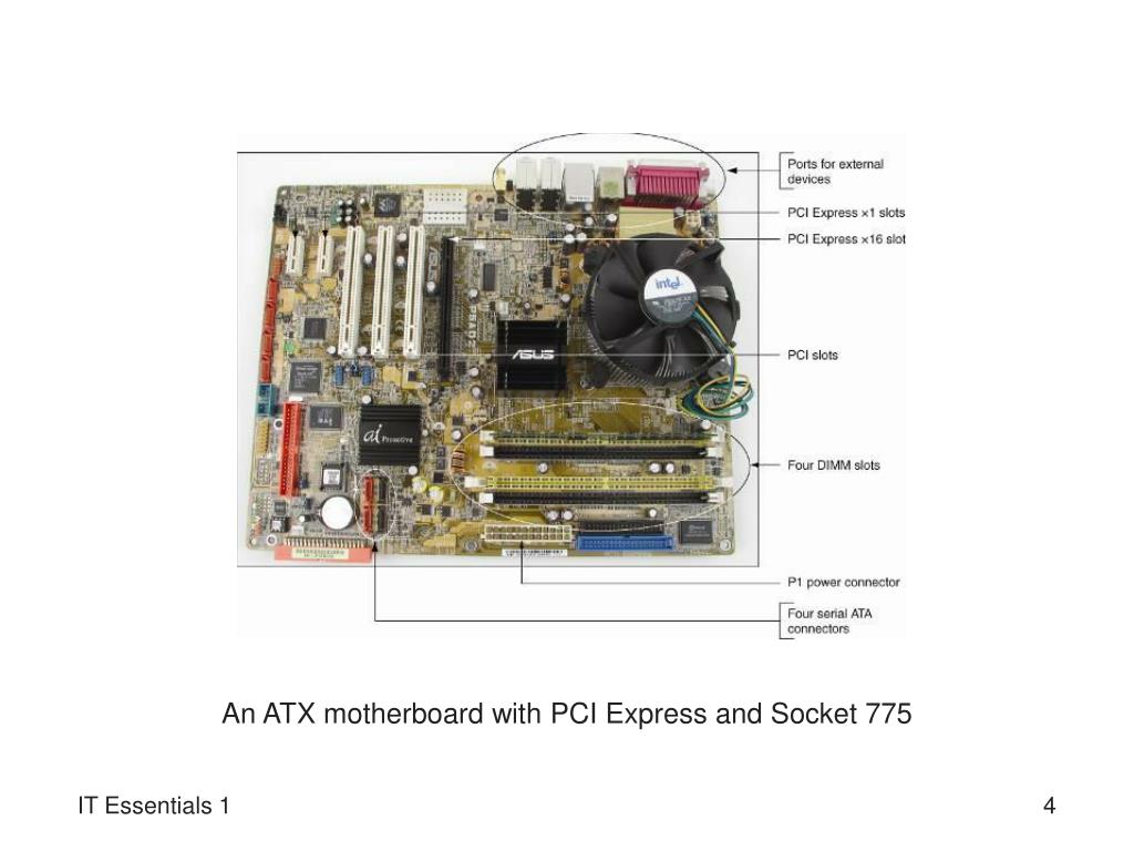 An ATX motherboard with PCI Express and Socket 775