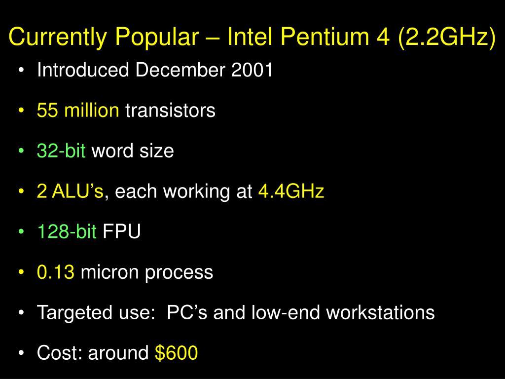 Currently Popular – Intel Pentium 4 (2.2GHz)