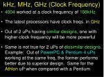 khz mhz ghz clock frequency