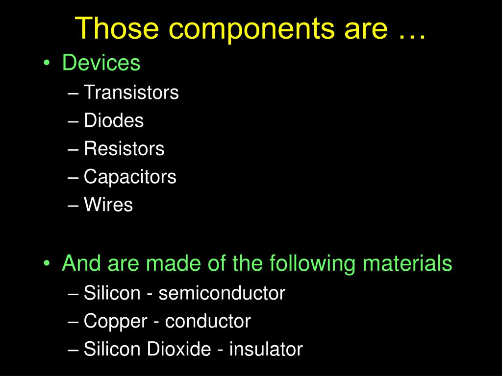 Those components are …