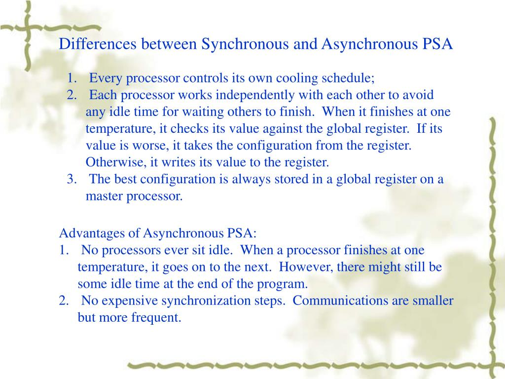 Differences between Synchronous and Asynchronous PSA