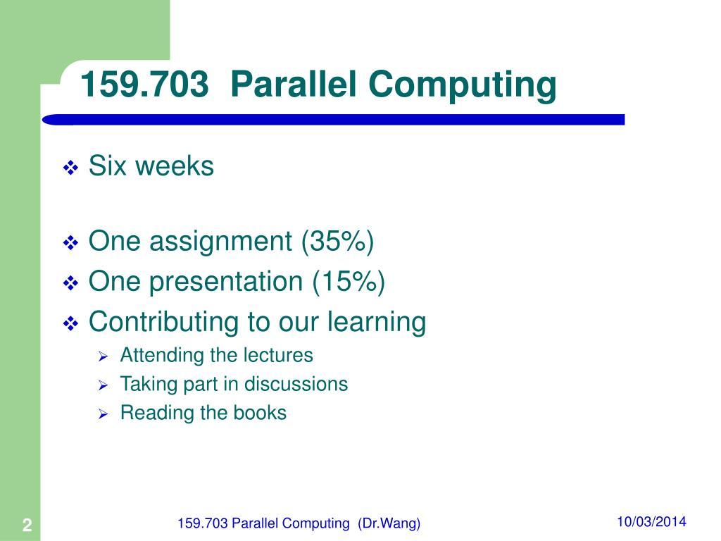159.703  Parallel Computing