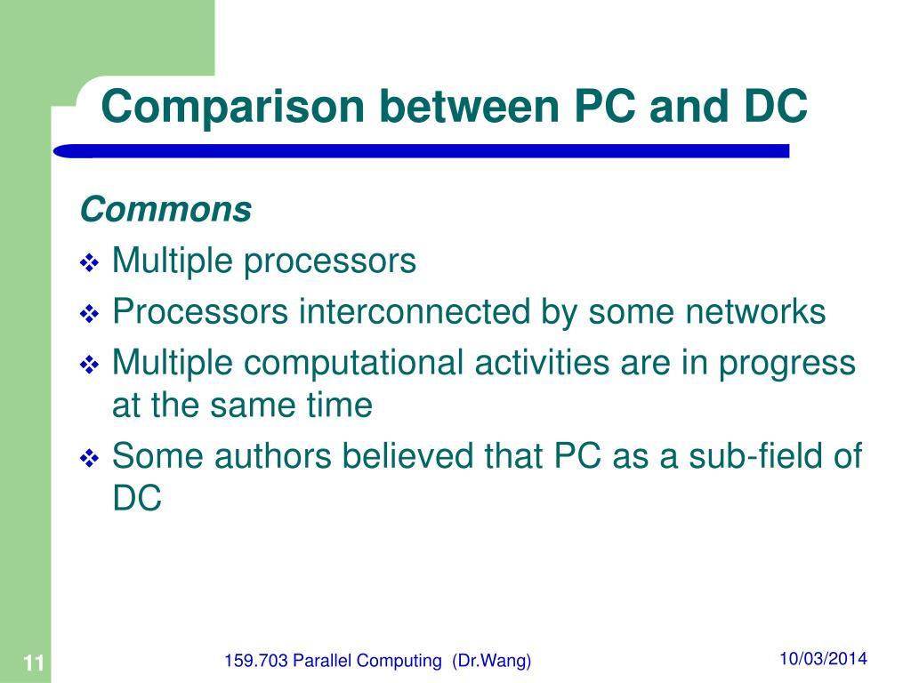 Comparison between PC and DC