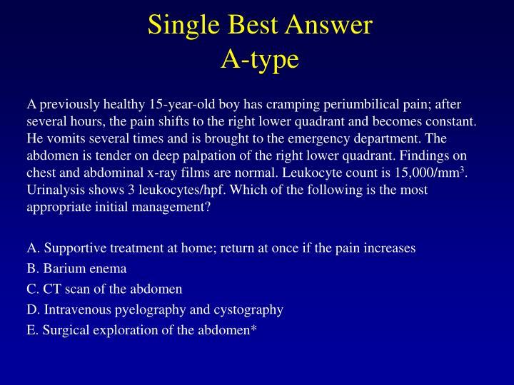 Single Best Answer