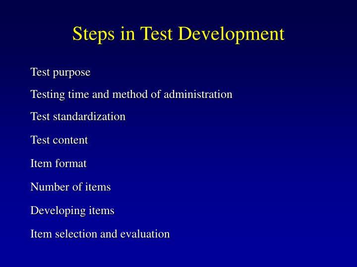 Steps in Test Development