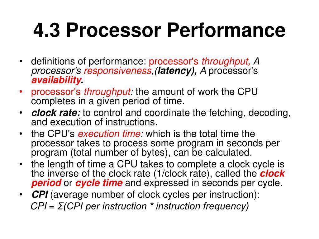 4.3 Processor Performance