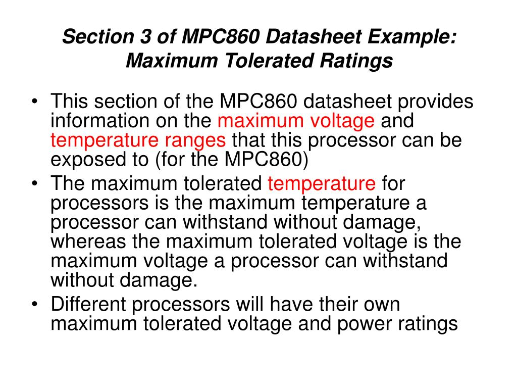 Section 3 of MPC860 Datasheet Example: Maximum Tolerated Ratings