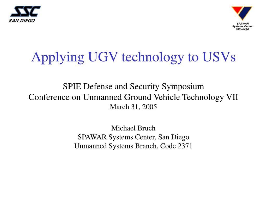 Applying UGV technology to USVs