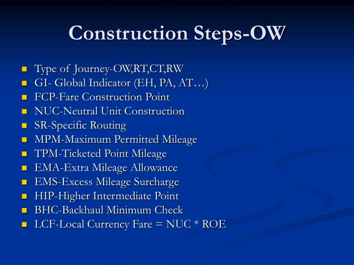 Construction steps ow