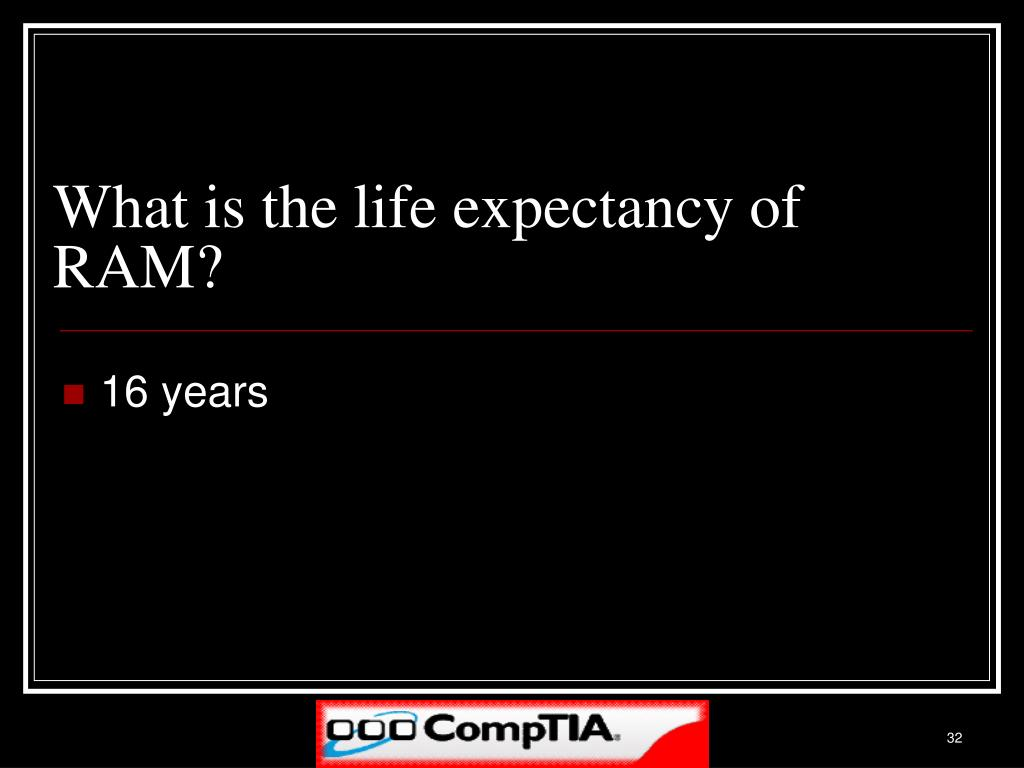 What is the life expectancy of RAM?
