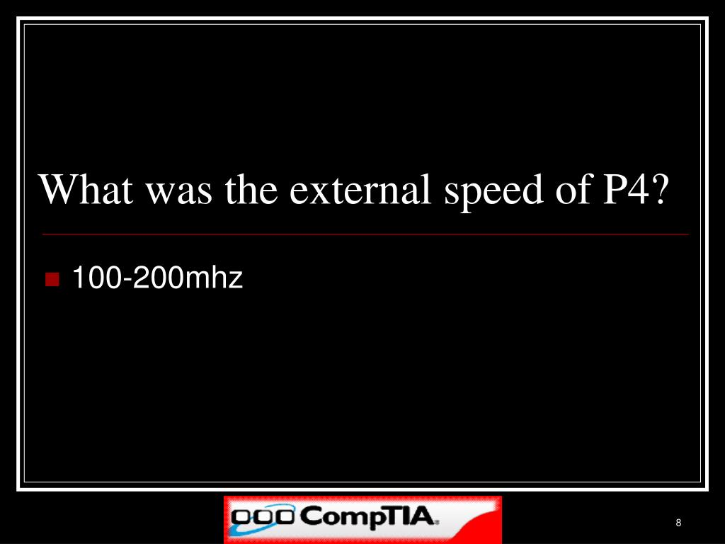 What was the external speed of P4?