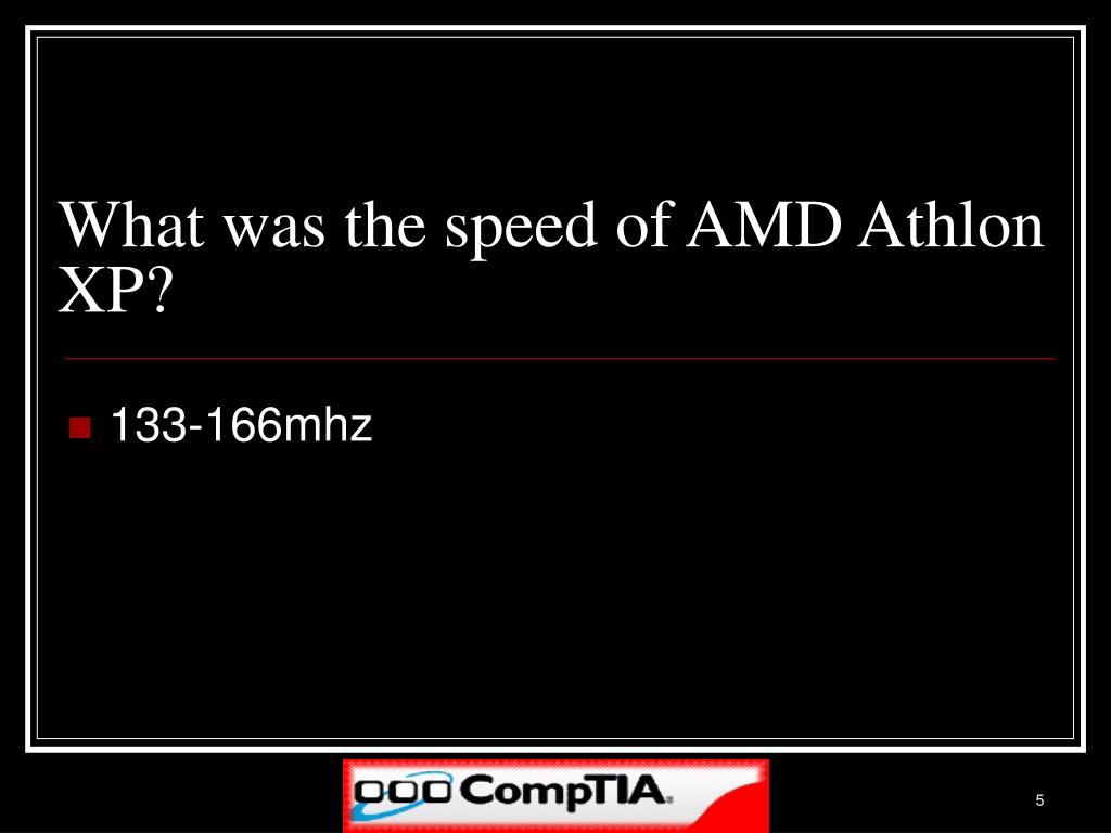 What was the speed of AMD Athlon XP?