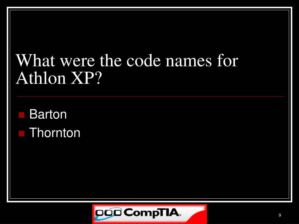 What were the code names for Athlon XP?