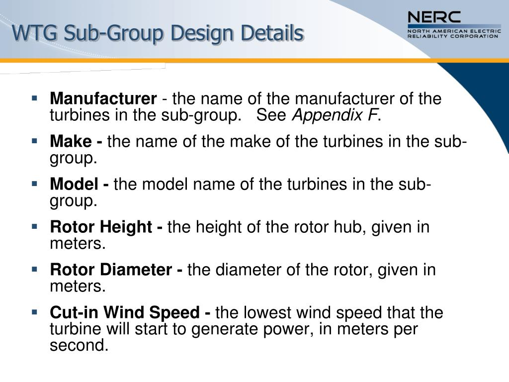 WTG Sub-Group Design Details