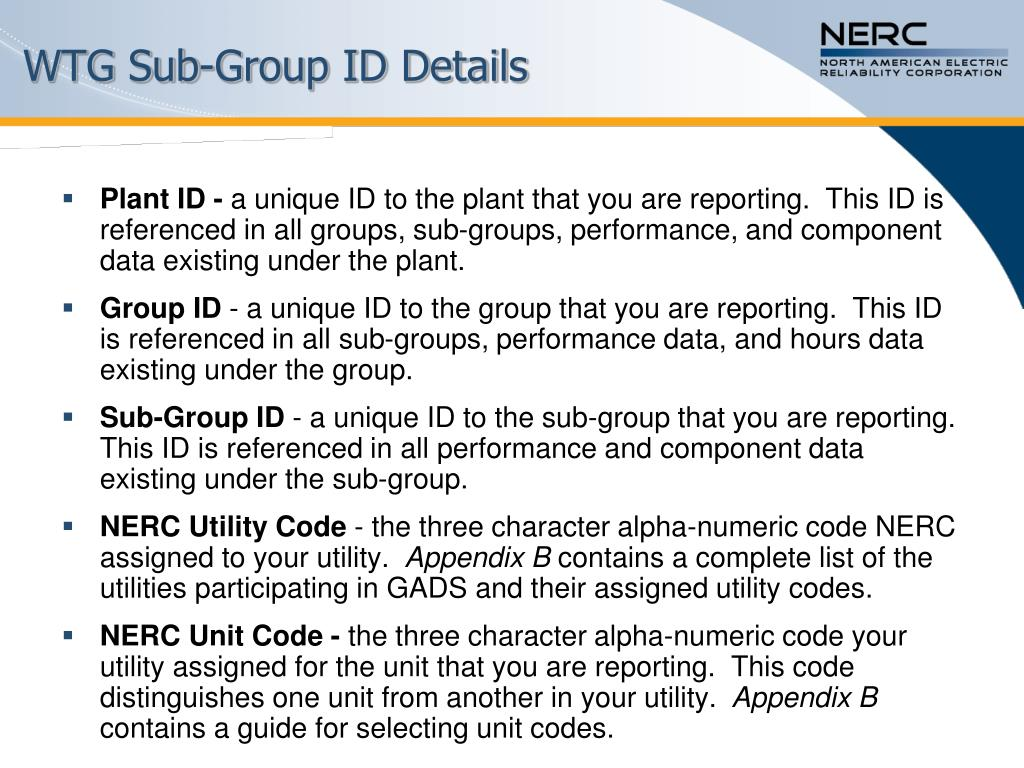 WTG Sub-Group ID Details