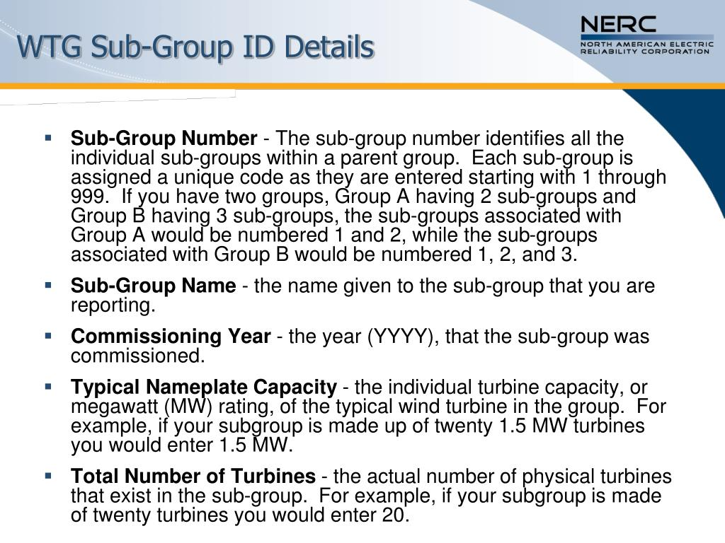 WTG Sub-Group ID Details