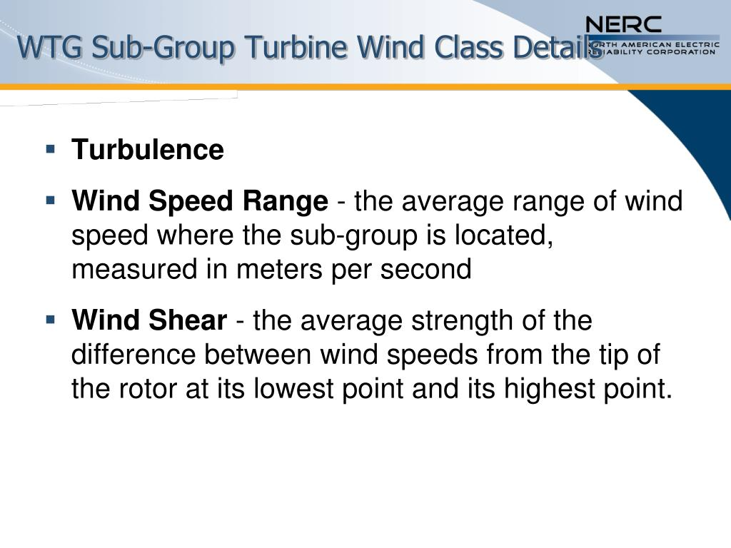 WTG Sub-Group Turbine Wind Class Details