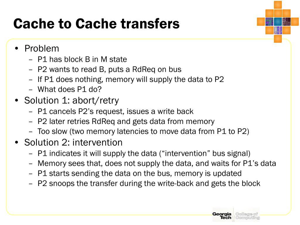 Cache to Cache transfers