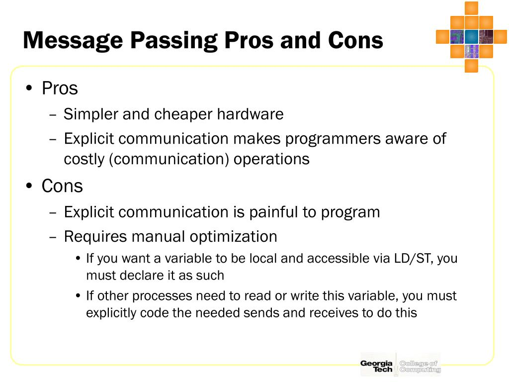 Message Passing Pros and Cons