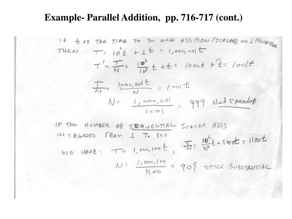 Example- Parallel Addition,  pp. 716-717 (cont.)