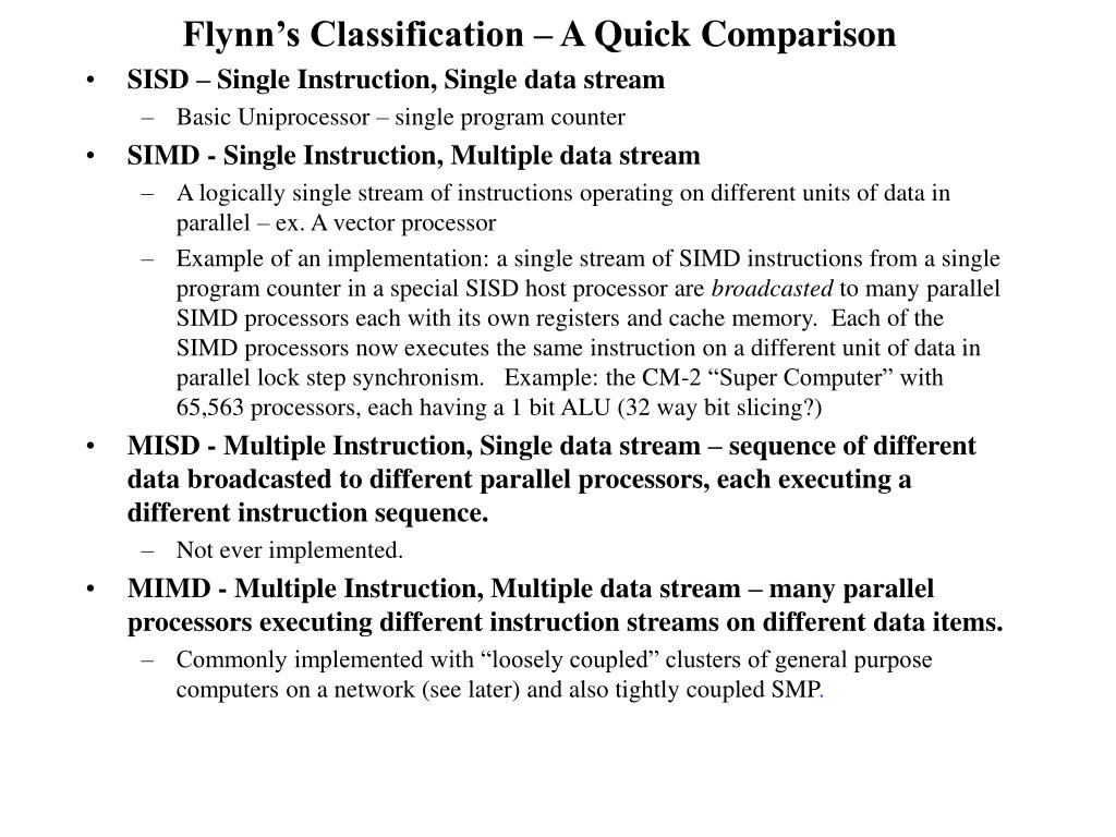 Flynn's Classification – A Quick Comparison
