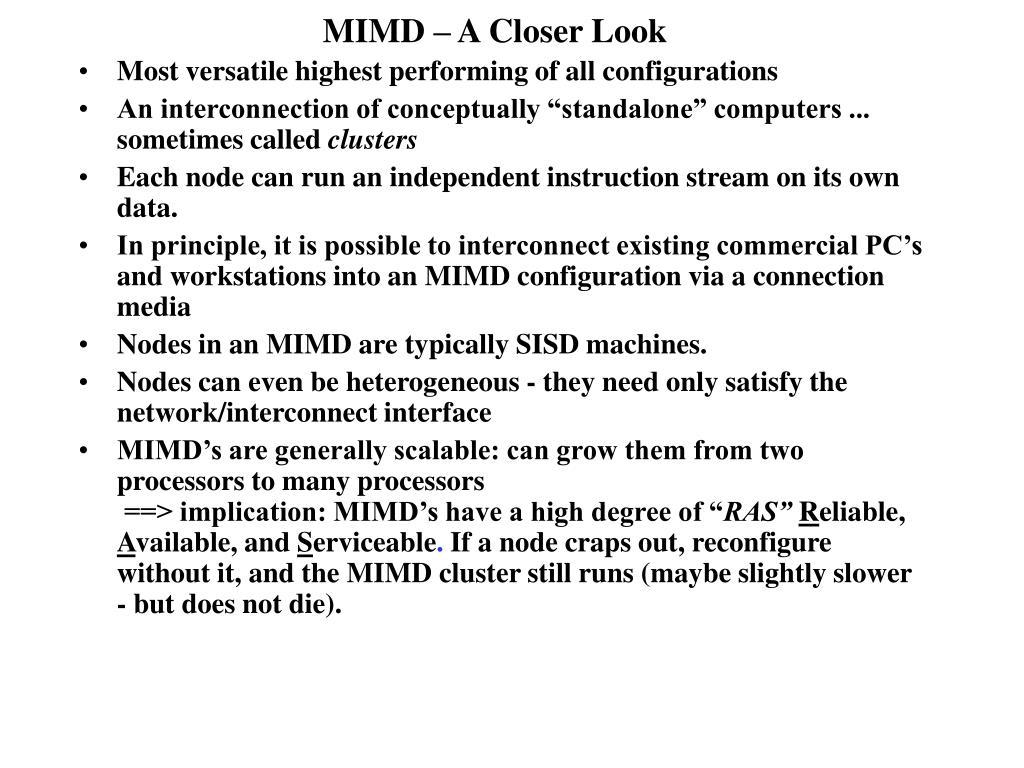 MIMD – A Closer Look