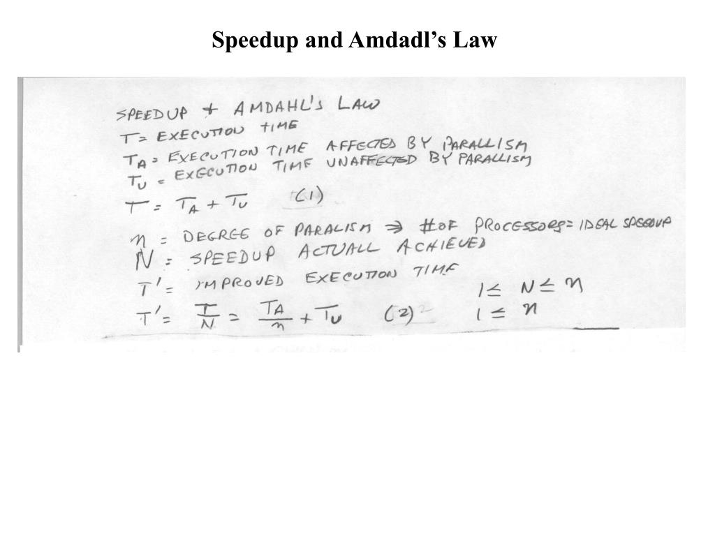 Speedup and Amdadl's Law
