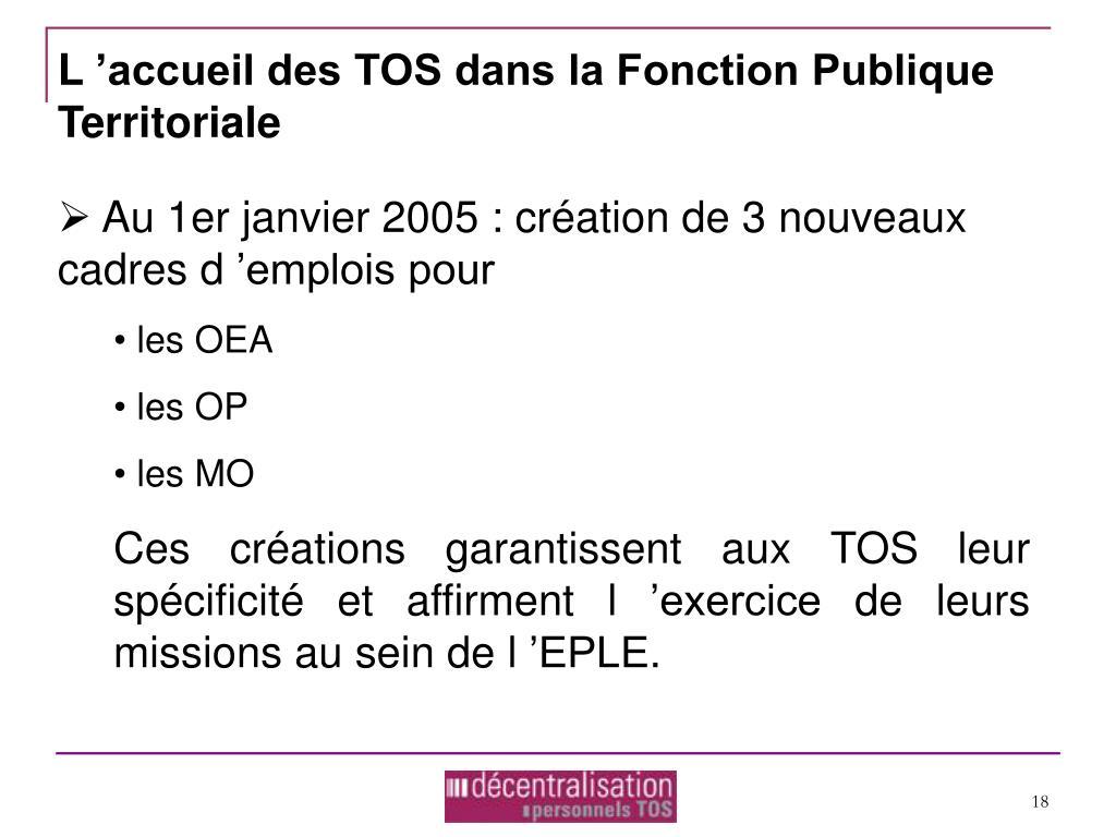 L'accueil des TOS dans la Fonction Publique Territoriale