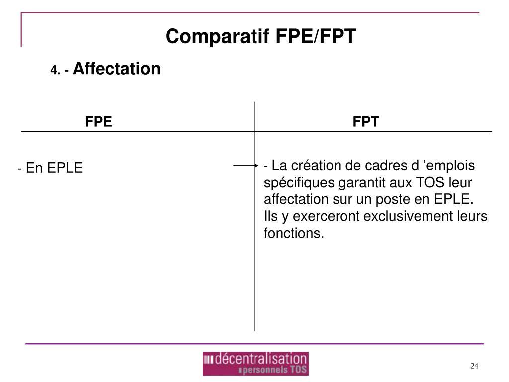 Comparatif FPE/FPT