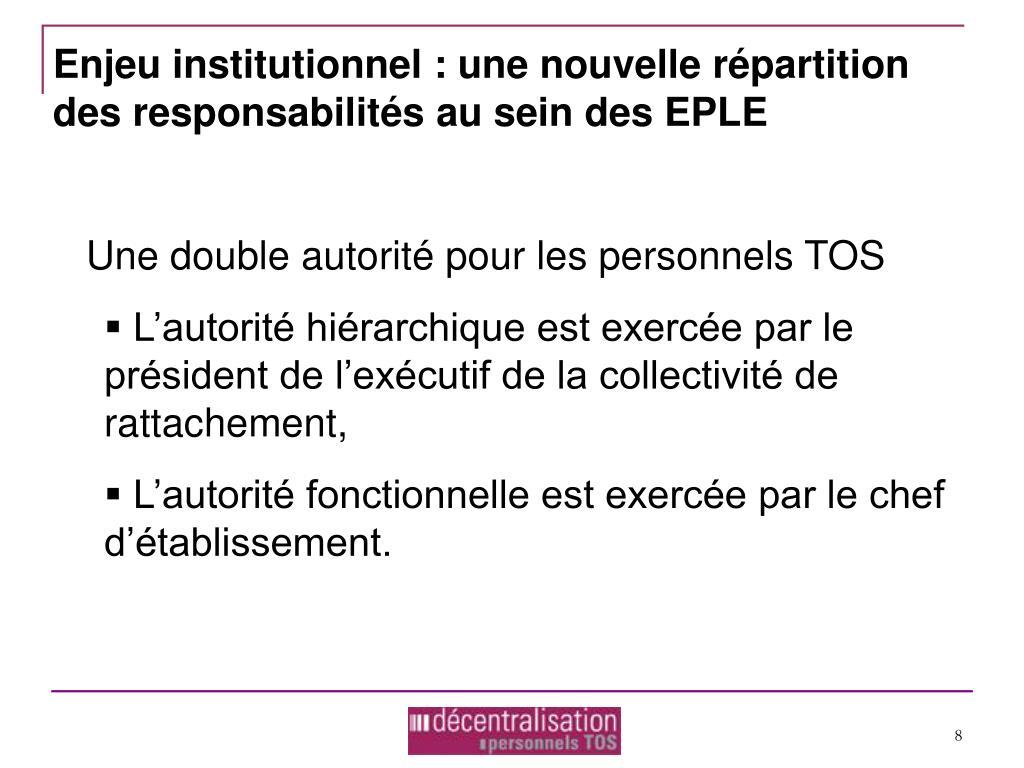 Enjeu institutionnel : une nouvelle répartition des responsabilités au sein des EPLE