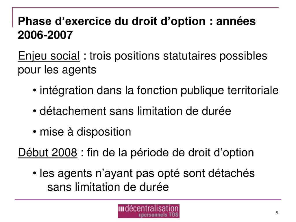 Phase d'exercice du droit d'option: années 2006-2007