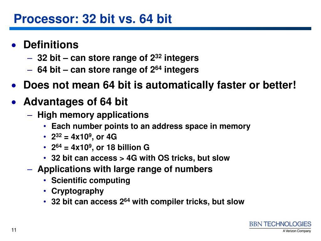 Processor: 32 bit vs. 64 bit