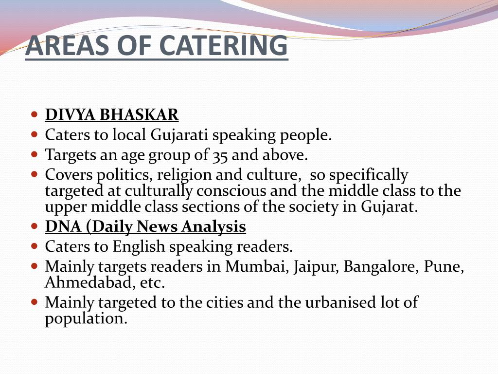 AREAS OF CATERING