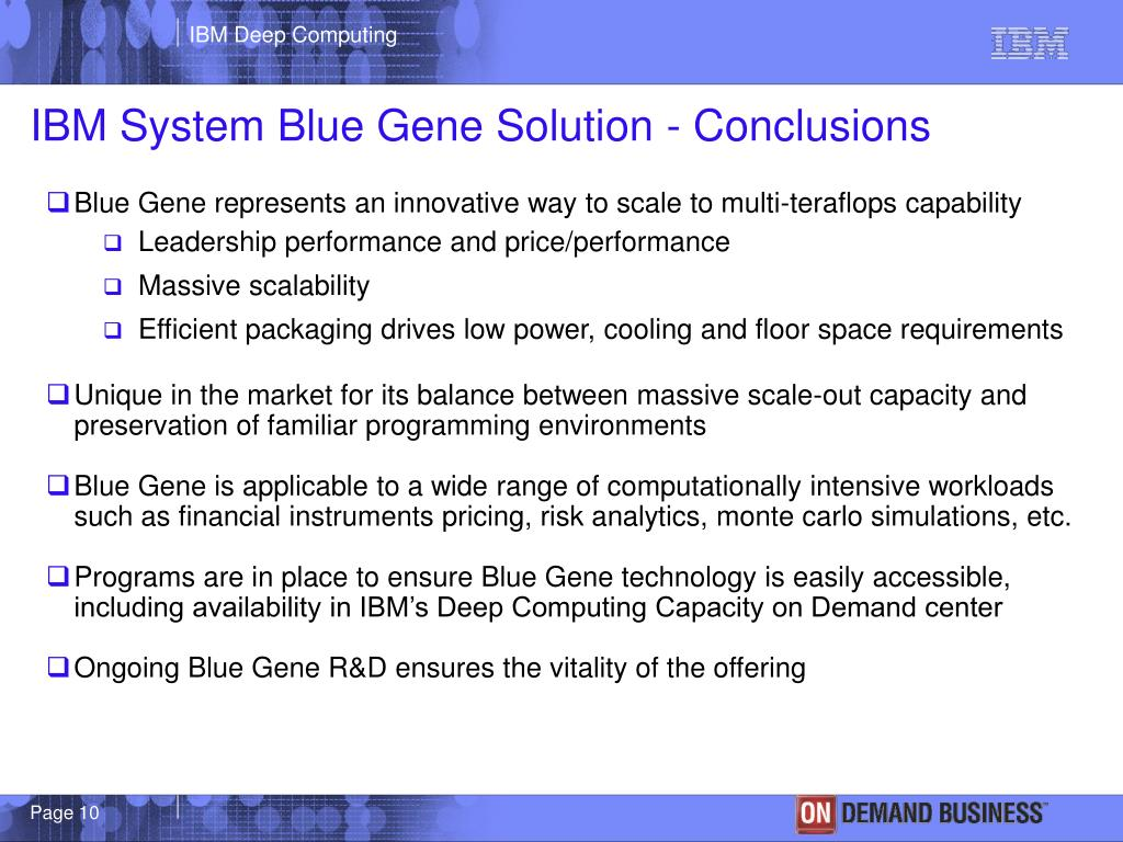 IBM System Blue Gene Solution - Conclusions