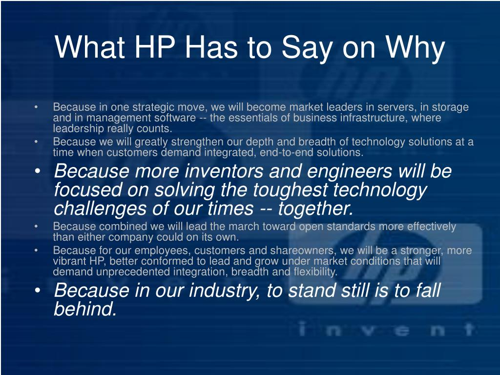 What HP Has to Say on Why