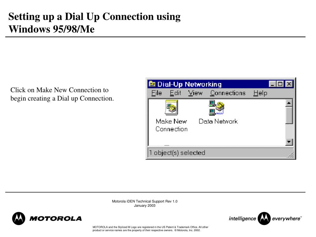Setting up a Dial Up Connection using Windows 95/98/Me