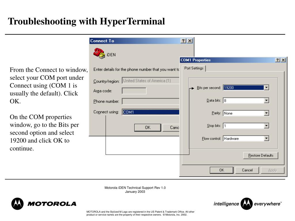 Troubleshooting with HyperTerminal