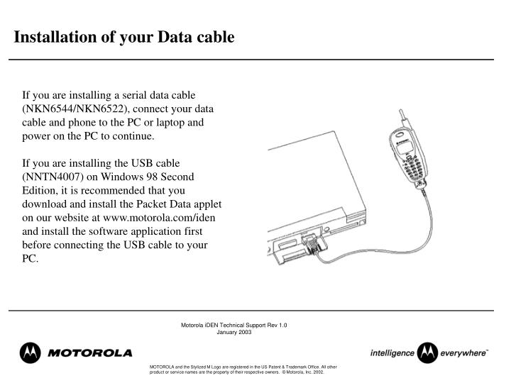 Installation of your Data cable