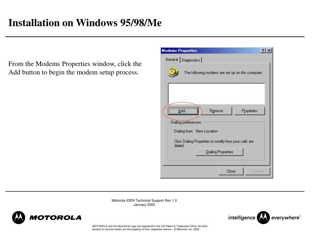 Installation on Windows 95/98/Me