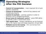 operating strategies after the fdi decision38