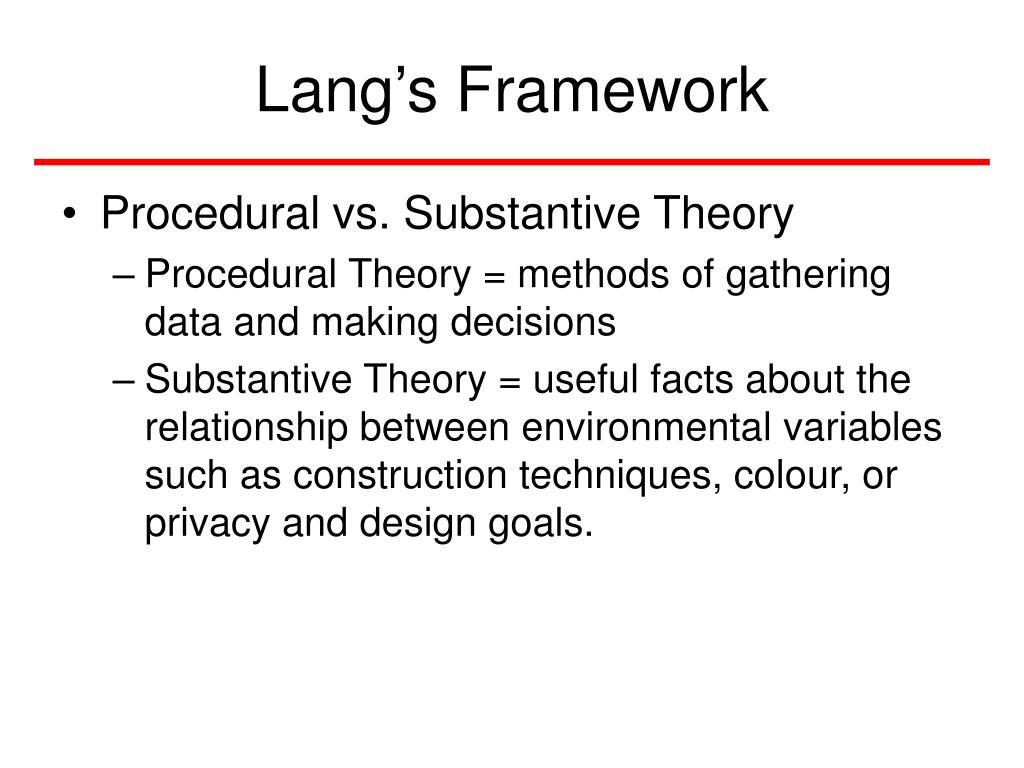 Lang's Framework