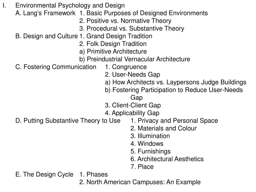 Environmental Psychology and Design