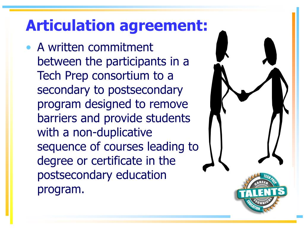 Articulation agreement: