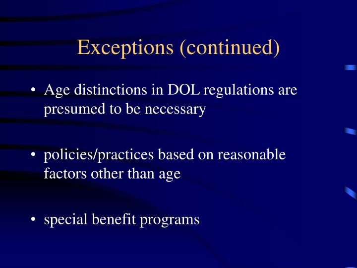Exceptions (continued)