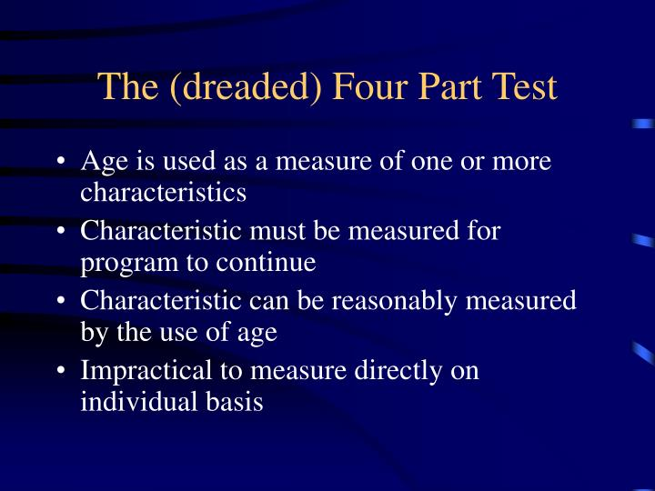 The (dreaded) Four Part Test