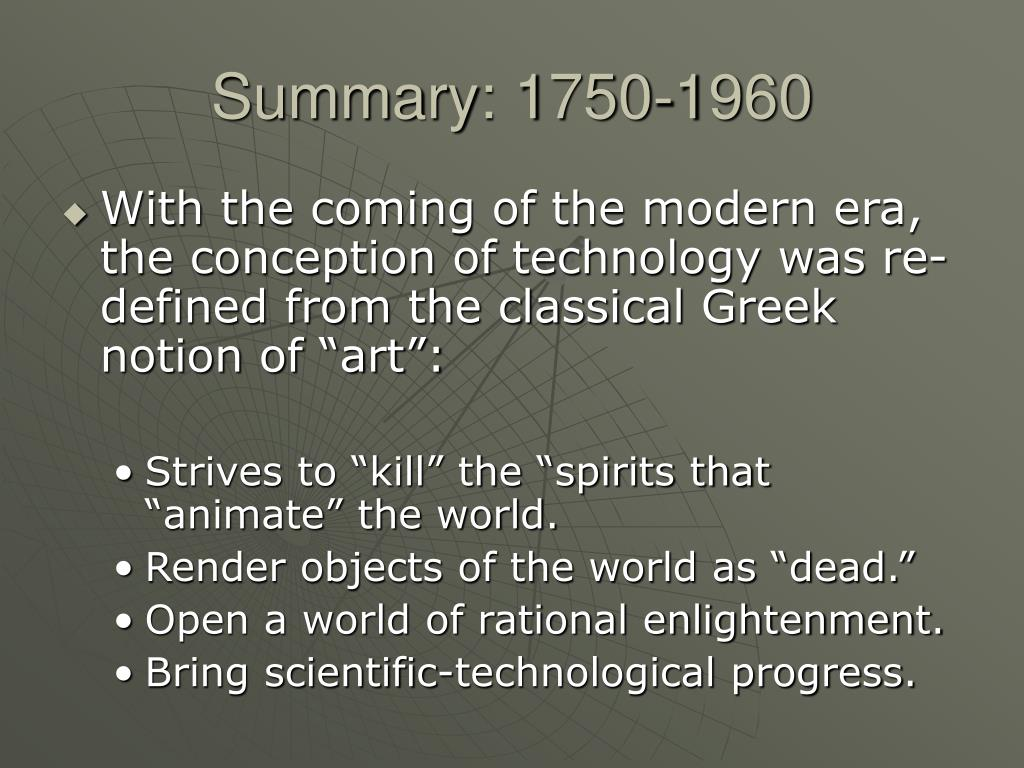 Summary: 1750-1960