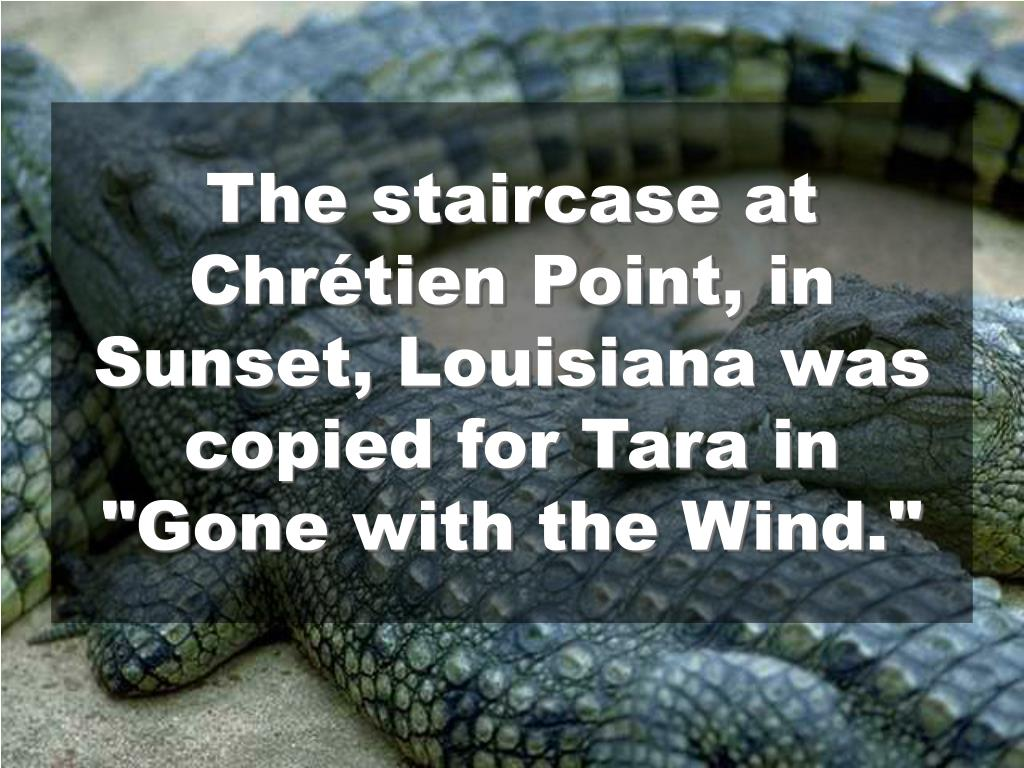 "The staircase at Chrétien Point, in Sunset, Louisiana was copied for Tara in ""Gone with the Wind."""