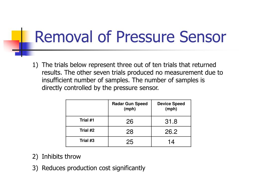 Removal of Pressure Sensor