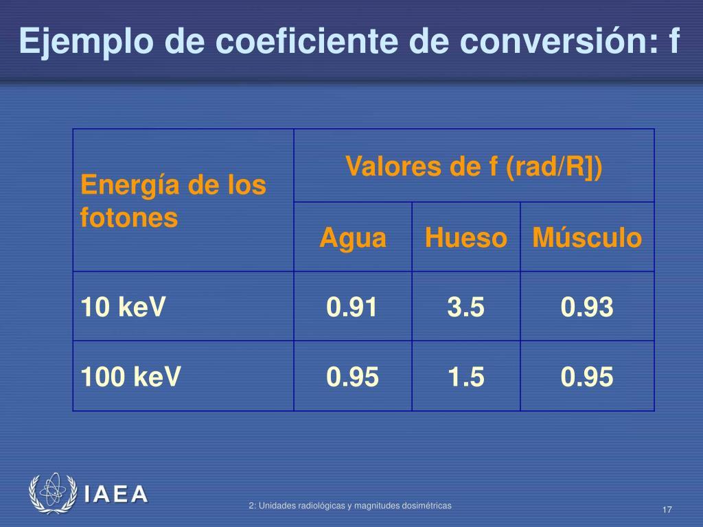 Ejemplo de coeficiente de conversión: f