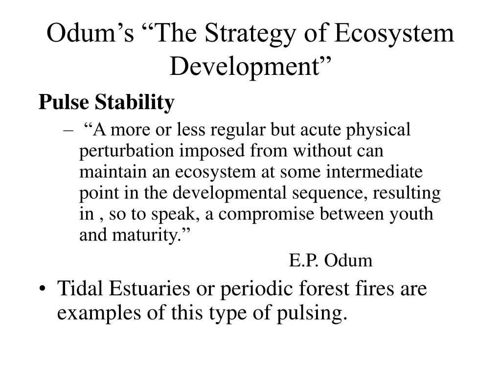 "Odum's ""The Strategy of Ecosystem Development"""
